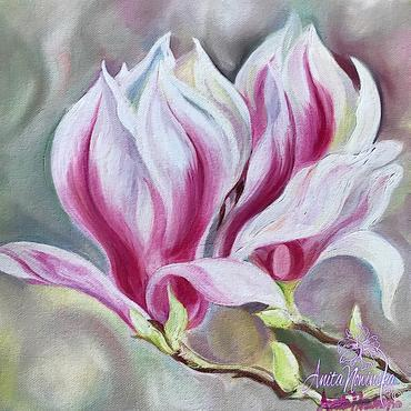 oil on canvas of pink & white magnolia flower painting by Anita Nowinska