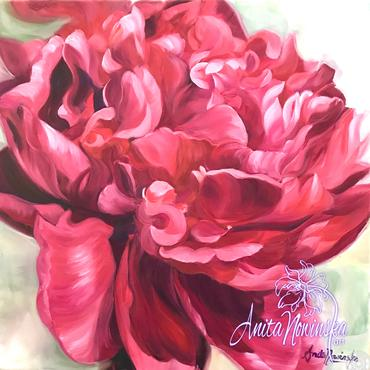 oil on canvas of red peony on pale green by Anita Nowinska