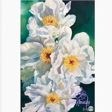 oil on canvas of white peonies by anita Nowinska wall art