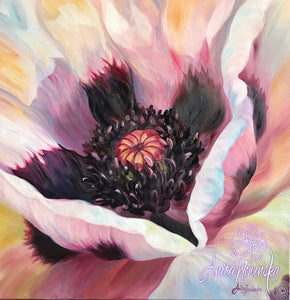 oil painting, flower painting of the middle of an oriental poppy with peach, pink, lilac, yellow by anita nowinska