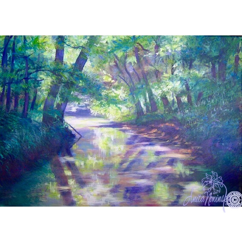 oil on canvas landscape painting of river meandering through trees