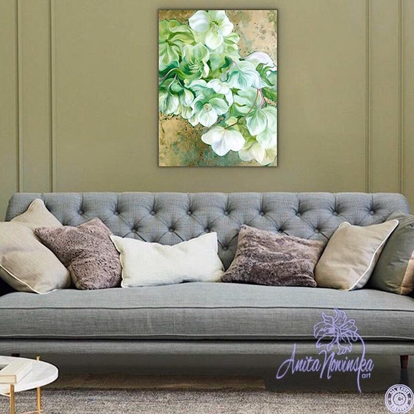 green hellebores on gold flower painting by anita nowinska