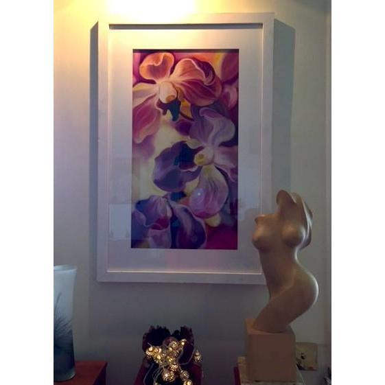 Big flower painting of Purple orchids on pale yellow background interior wall decor art