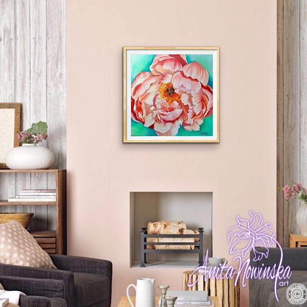 living room decor with painting of peach peony 'prosperity' by Anita Nowinska