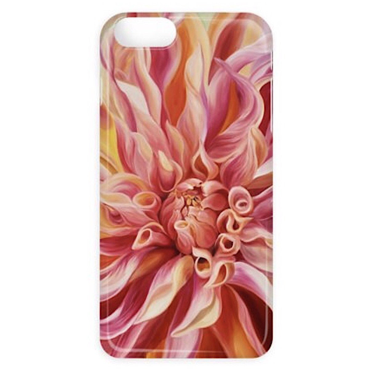 peach labyrinth dahlia- designer floral iphone case- anita nowinska flower painting