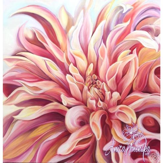 peach labyrinth dahlia flower painting by Anita Nowinska