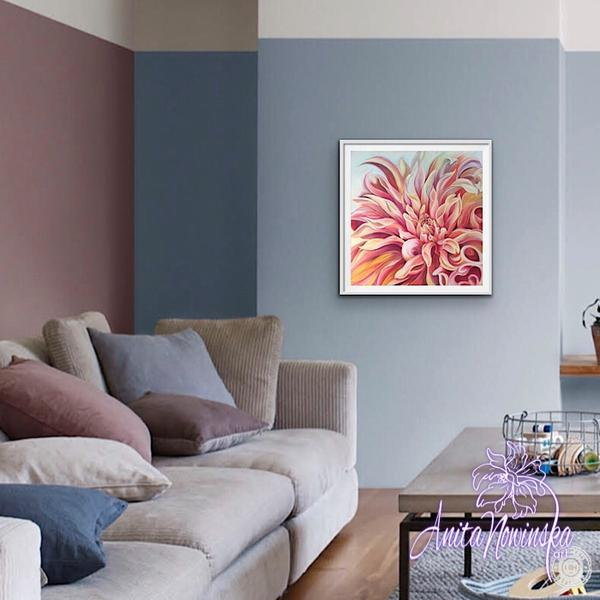 living room decor with peach labyrinth dahlia limited edition print by Anita Nowinska