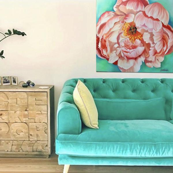 living room decor with peach  coral peony floral painting by Anita Nowinska