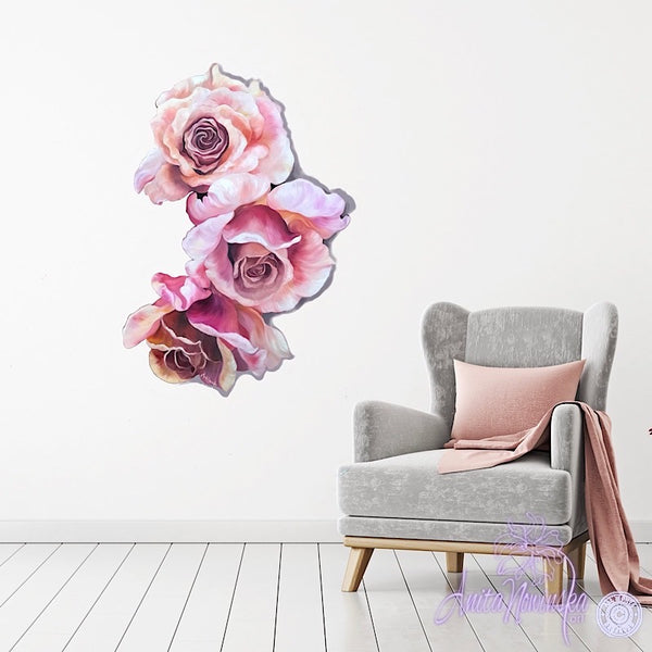 three pink, peach roses freeform floral wall Art Flower painting
