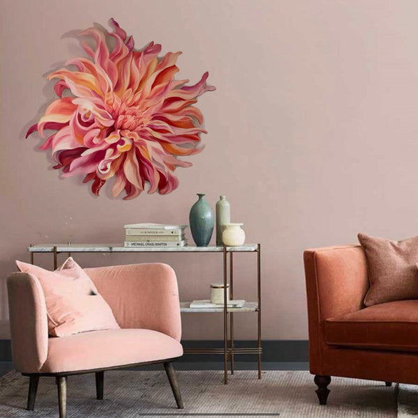 peach dahlia freeform flower painting. floral wall decor for interiors