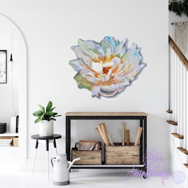 white peony freeform wall art flower painting