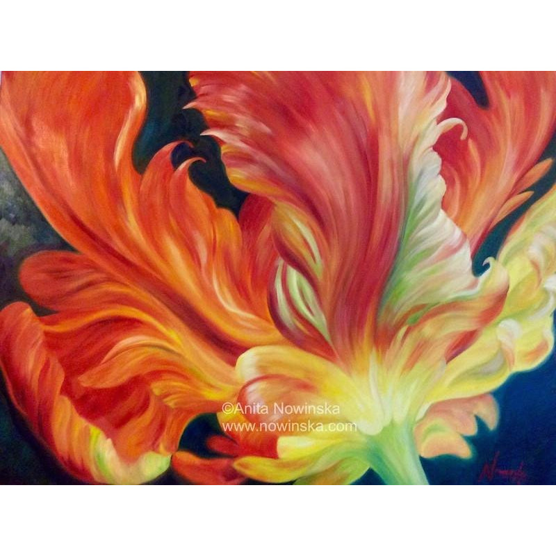 Red Parrot Tulip- Flower Painting- Oil on canvas- original- Anita Nowinska