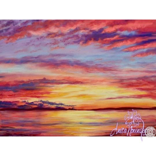 limited edition print of pink sunset flower painting by Anita Nowinska