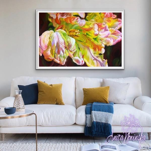 Vitality- Big Flower Painting of Parrot Tulip