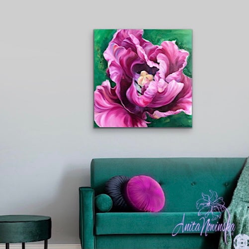 Diva- Pink cerise tulip flower painting on canvas by anita nowinska