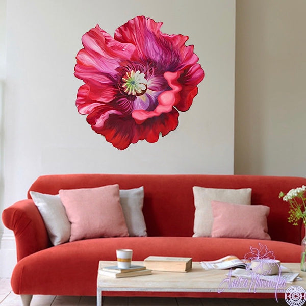 freeform flower painting by Anita Nowinska-red poppy wall art