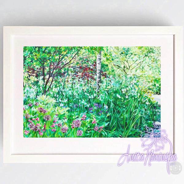 print of garden painting with path & trees by Anita nowinska