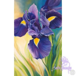 purple iris big flower painting by Anita Nowinska