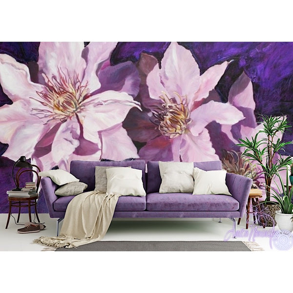 Purple Clematis floral wallpaper mural by Anita Nowinska