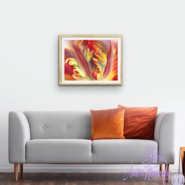 red & yellow parrot tulip flower painting by anita nowinska