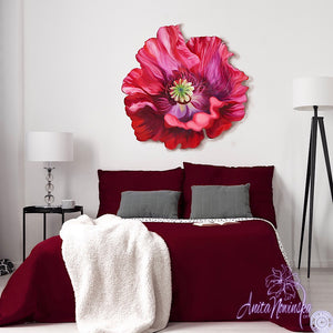red poppy freeform wall art- flower painting by Anita Nowinska