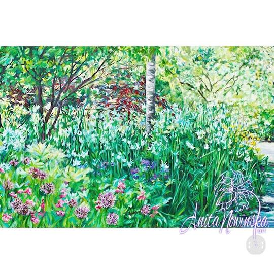 rhs Wisley garden painting with path & trees by Anita nowinska