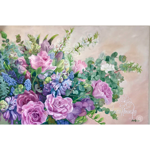 big flower painting, oil on canvas, of a Spring wedding bouquet in pinks & blues by anita nowinska