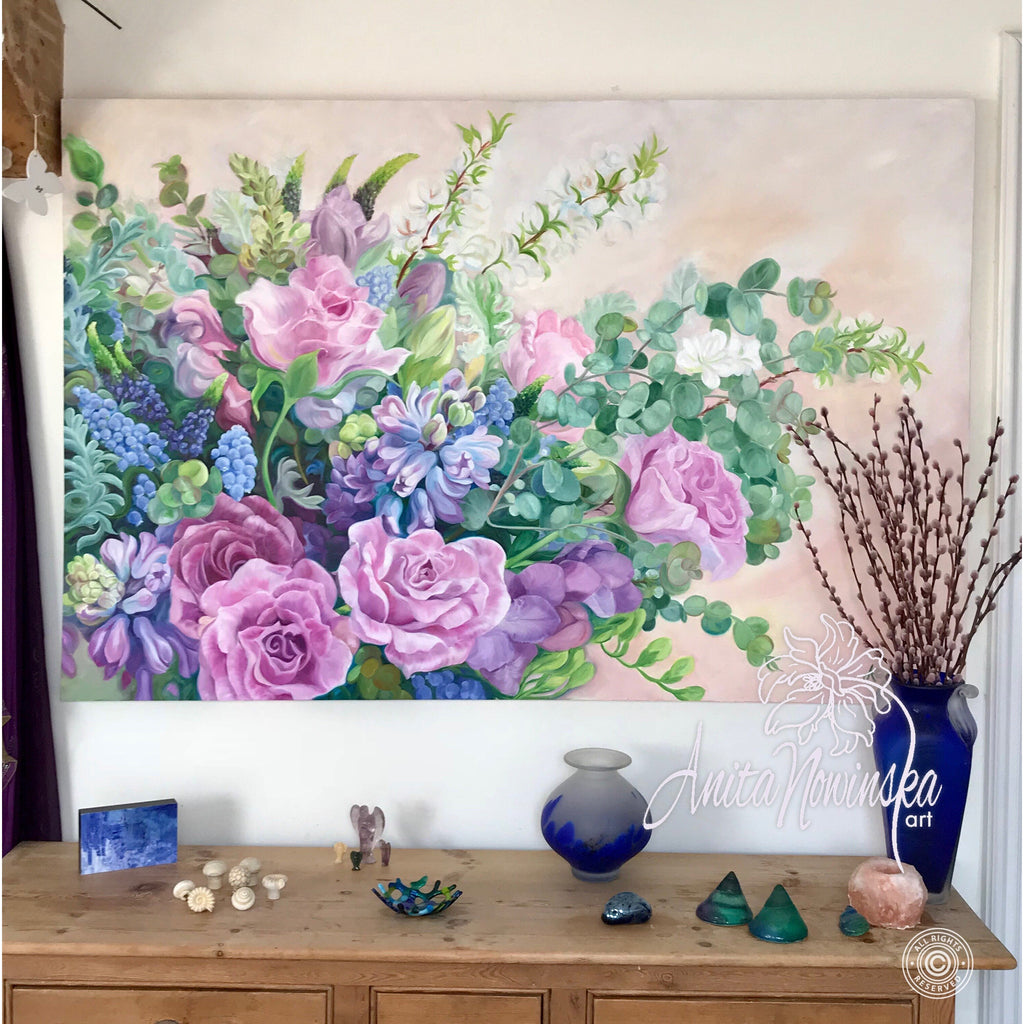 Serendipity wedding bouquet flower painting blue pink original pink blue flowers wedding bouquet painting big flower painting statement art izmirmasajfo
