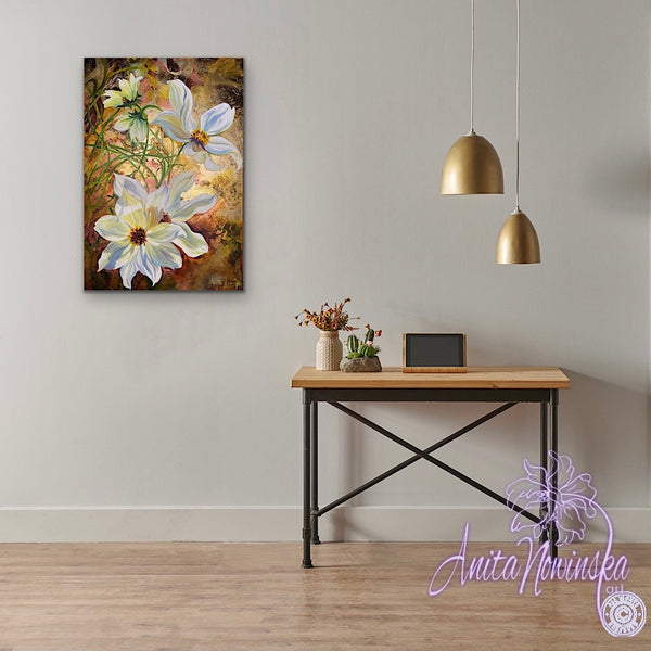 Simple Things-Mixed Media Cosmos Flower Painting
