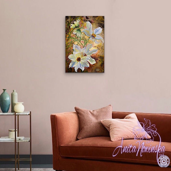 simple things- mixed media canvas of cosmos flower painting on gold leaf by anita nowinska 11.38.31.JPG
