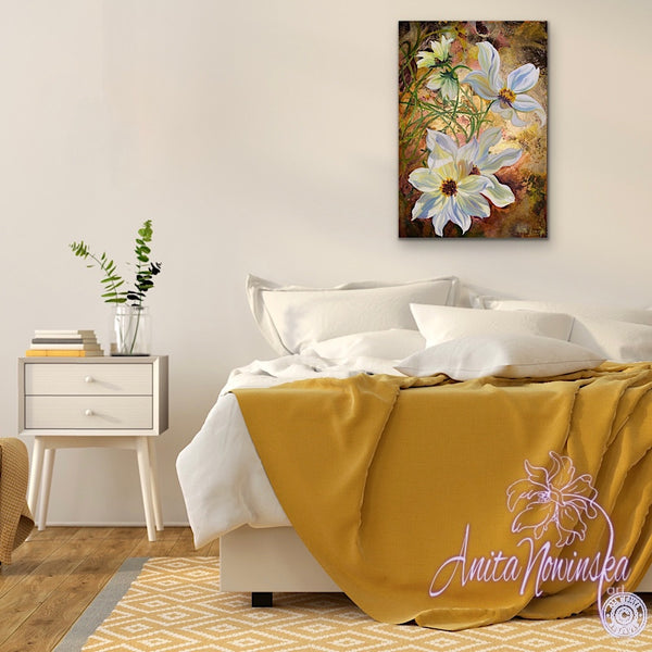 simple things- mixed media canvas of cosmos flower painting on gold leaf by anita nowinska.JPG