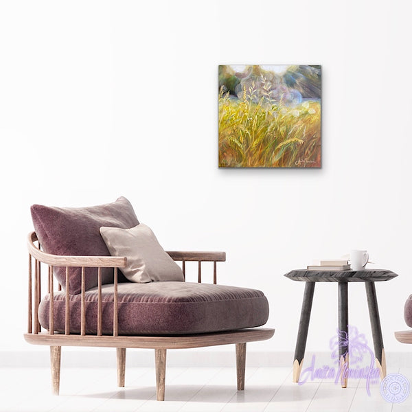 small acrylic canvas painting of golden grasses & seedheads in bright dappled sunlight by anita nowinska
