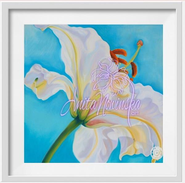 small framed print of white lily flower painting by Anita nowinska