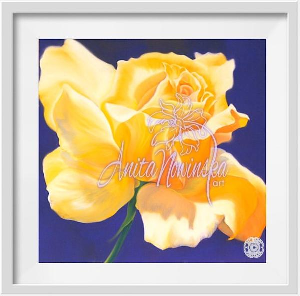 small framed print of yellow rose flower painting-by Anita nowinska