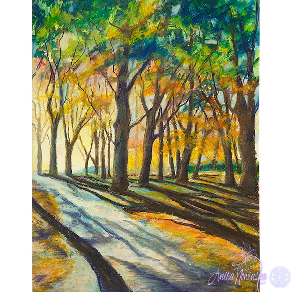 MORNING STROLL,morning sunlight through woodland trees landscape painting