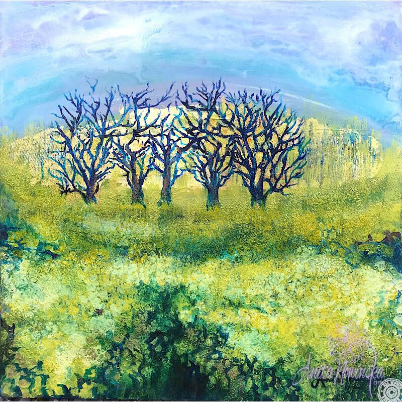 small mixed media landscape of rapeseed fields by anita nowinska