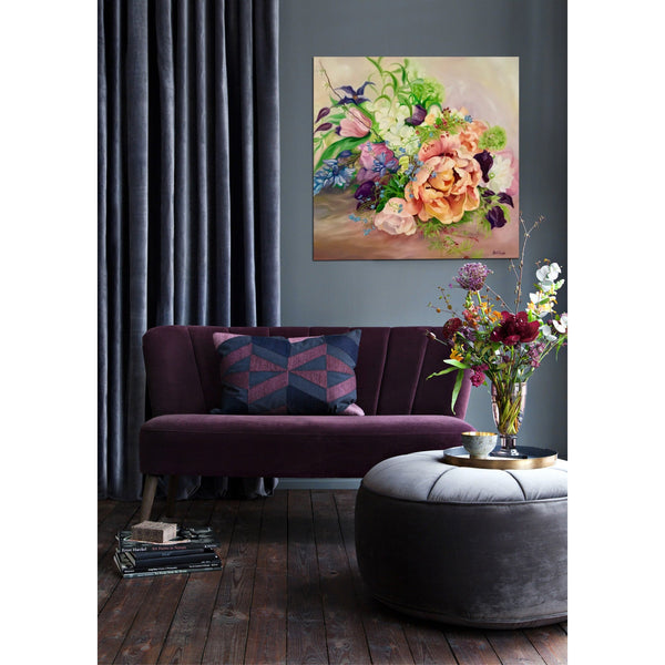 Interior decor with Wedding bouquet floral painting by Anita Nowinska. Big flower painting in oil on canvas of Spring flowers, tulip, clematis & sweet peas