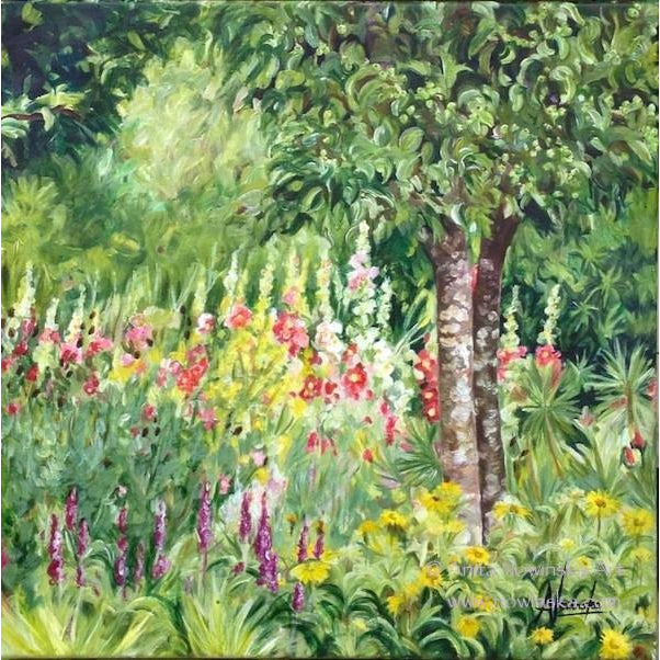 English Cottage Garden In Summer Flower Painting On Canvas Anita Nowinska
