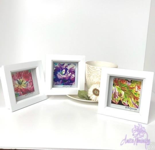 three small framed floral prints of tulips, perfect as gifts & wall decor