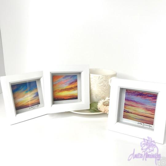 three small framed sunset painting prints for gifts & presents