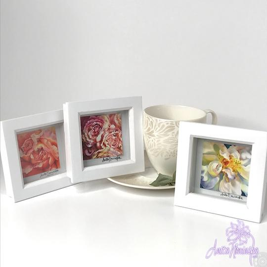 tiny floral prints of rose flower paintings for gifts or presents