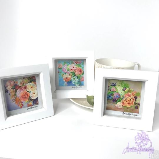 tiny framed floral prints of bouquet flower paintings for presents & gifts