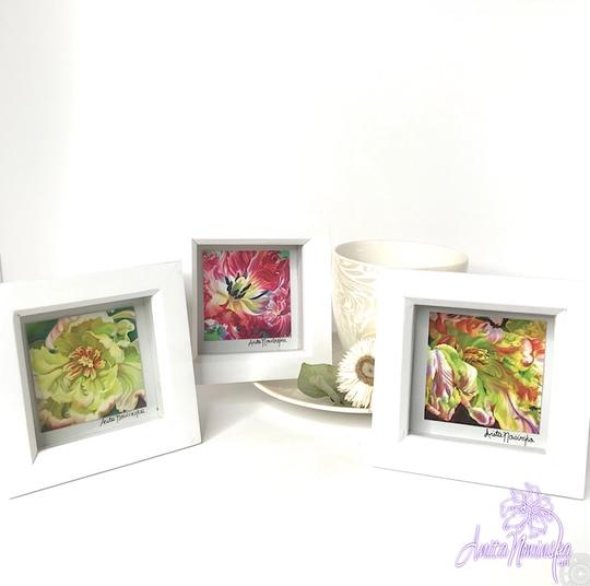 tiny framed floral prints of tulip flower paintings for presents & gift ideas