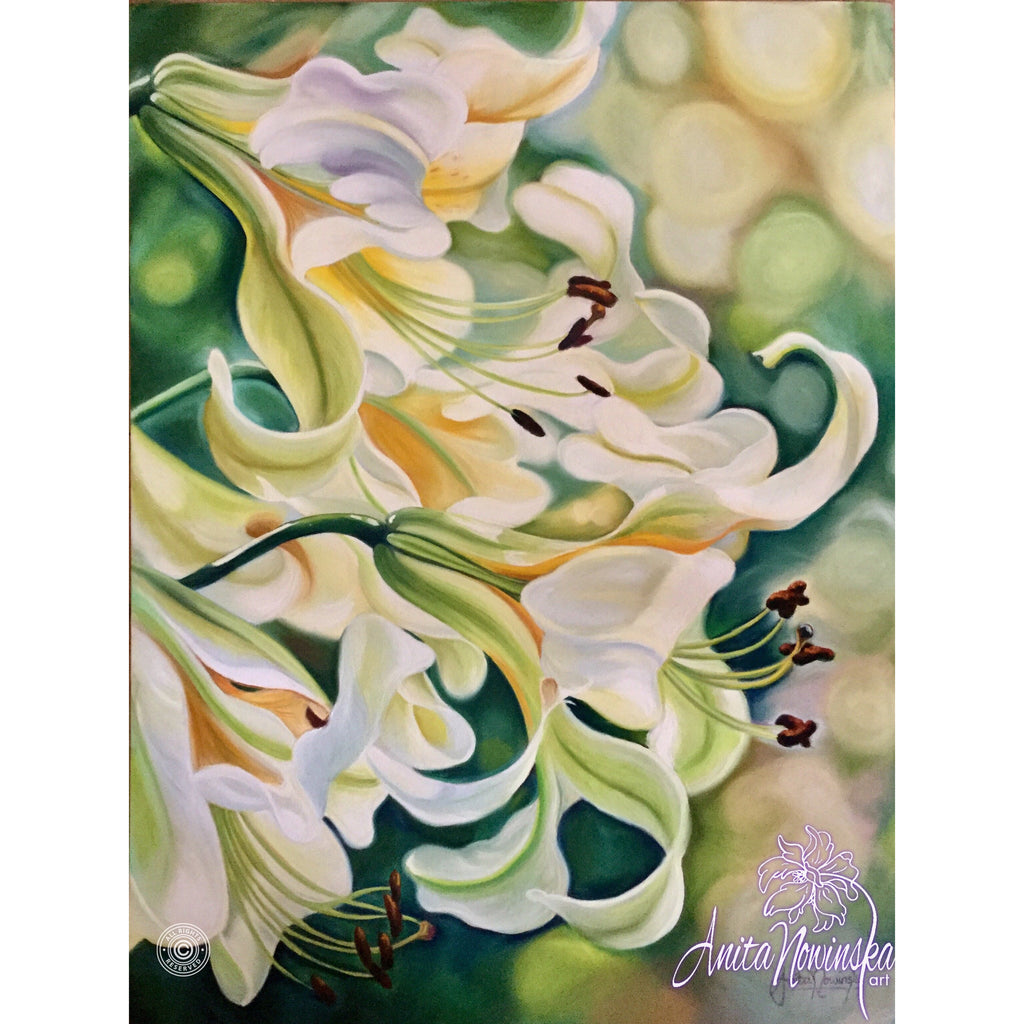 Tranquility White Lilies On Green Relaxing Original Flower Painting