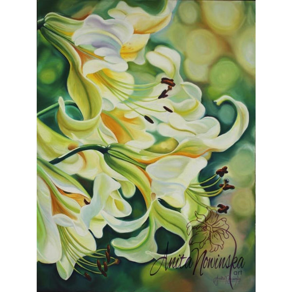 tranquility-white lilies-flower paintings-interiors-anita nowinska-green-white-flower painting-art-botanical-lily-interior design