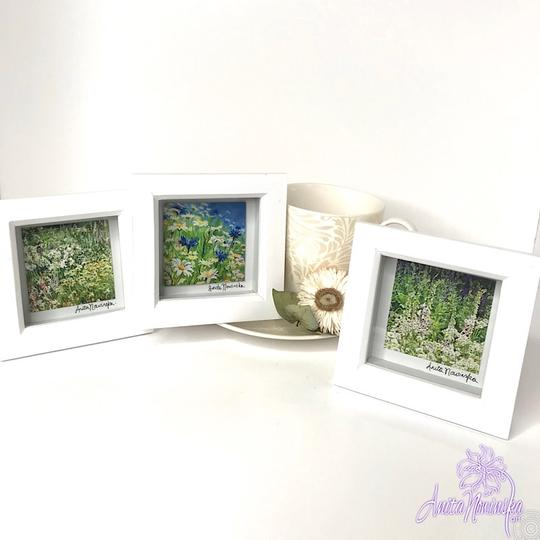 trio of green garden meadow paintings framed as gifts & presents