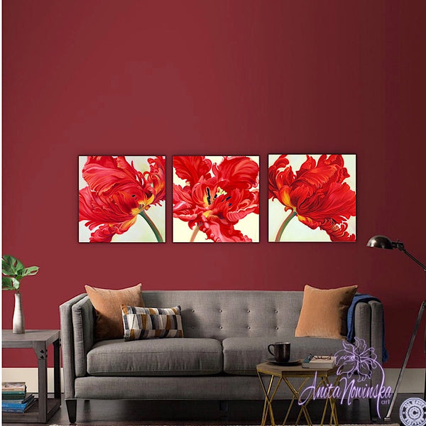 red parrot tulip flower painting by anita nowinska.