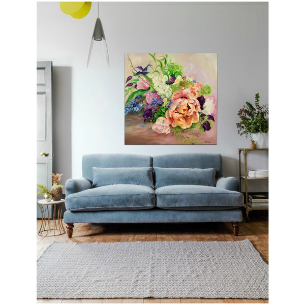 Interior with Wedding bouquet floral painting by Anita Nowinska. Big flower painting in oil on canvas of Spring flowers, tulip, clematis & sweet peas