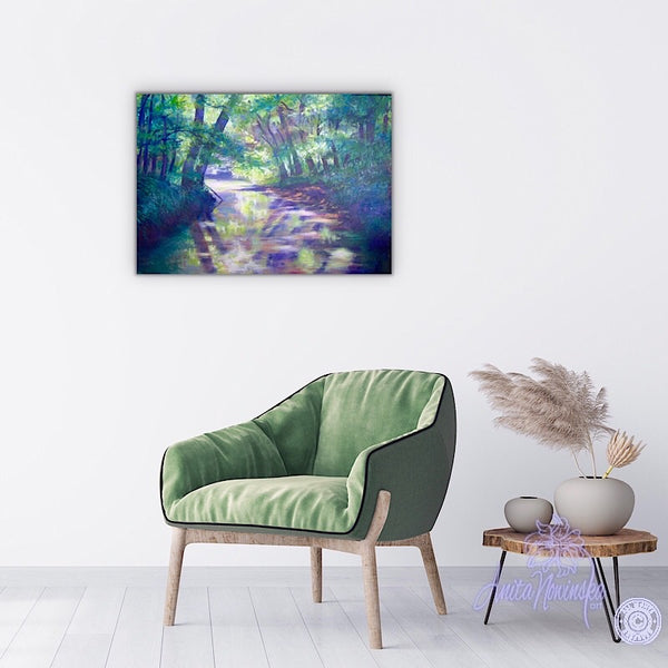 wall art- landscape painting of river folwing through trees