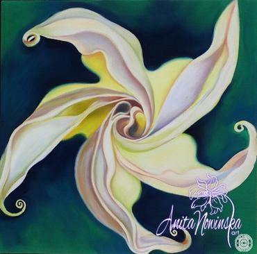 'Psyche'- Convolvulus Flower Painting Pastel